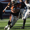 Nick Theriault of Beverly squeezes through an opening during the Division 3 Super Bowl vs. Somerset at Gillette Stadium on Saturday.<br /> Photo by Ken Yuszkus/Salem News, Saturday, December 4, 2010.