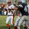 Hamilton:<br /> Ipswich's Brendan Gallagher looks for a receiver during the Ipswich at Hamilton-Wenham game.<br /> Photo by Ken Yuszkus/Salem News, Thursday, November 25, 2010.