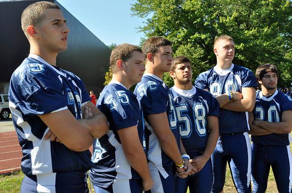 Peabody: Peabody High School football team captains: Chris Greene, left, Nick Vargas, Mike Garrity, George Haraktsis, Brian Deangelis, and Greg Celentano.  photo by Mark Teiwes / Salem News