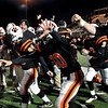 Lynn:  Beverly High School players celebrate their  41-14 victory over Scituate in the division 3 state football playoff semifinal at Manning Field in Lynn. photo by Mark Teiwes / Salem News