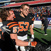 Marc Babcock, left, and Rob Cattell rejoice after Beverly beat Somerset in the Division 3 Super Bowl at Gillette Stadium on Saturday.<br /> Photo by Ken Yuszkus/Salem News, Saturday, December 4, 2010.