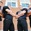 Marblehead: Marblehead High School tootball team 2010 captians Matt Perlow, left, Liam Gilliland, Josh Freedland, and Ben Koopman.  photo by Mark Teiwes / Salem News
