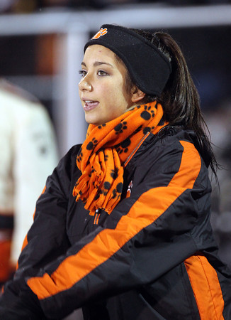 Beverly junior Kayla Beaulieu cheers on the Panthers on Tuesday evening. David Le/Staff Photo