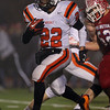 Beverly High School junior running back Isiah White breaks free of all Burlington defenders and sprints upfield. White ran for 109 yards against the Red Devils and helped the Panthers to a 34-21 win in the D2A semi-final on Tuesday evening. David Le/Staff Photo