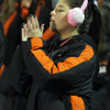Beverly High School junior Aliza Bernfeld claps as the Panthers drive down the field against Burlington on Tuesday night. David Le/Staff Photo