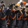 The Beverly Panther Cheerleaders shout encouragement for the Panthers during Beverly's 34-21 victory over Burlington in the Eastern Mass D2A semi-final at Varsity Field in Burlington on Tuesday evening. David Le/Staff Photo