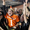 Beverly High School junior Casey Cook, left, and senior Kristen O'Connor, right, scream in celebration after the Panthers captured their first Girls Soccer D1 North Title on Sunday afternoon by defeating the Central Catholic Raiders on PK's at Manning Field in Lynn. David Le/Staff Photo