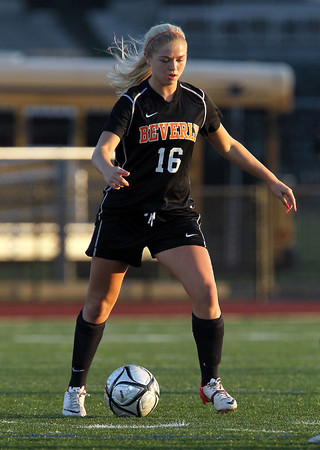 Beverly sophomore midfielder Eva Gourdeau controls the ball against Central Catholic on Sunday afternoon in the D1 North Final at Manning Field in Lynn. Beverly and CC played to a 1-1 tie after regulation and 2OT periods, and the Panthers converted their first 4 penalty kicks and defeated the Raiders 4-1 on PK's to win advance to the Eastern Mass Final later this week. David Le/Staff Photo