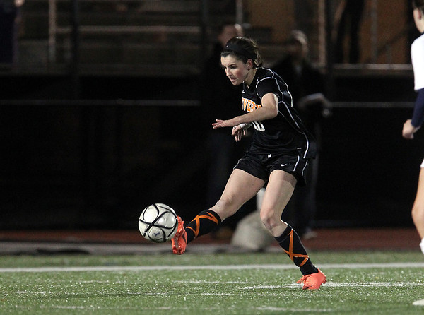 Beverly senior Kristen O'Connor crosses the ball into the box against Franklin on Wednesday night. David Le/Staff Photo