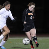 Beverly freshman Sarah Visnick kicks the ball upfield during the first half of play against Franklin in the D1 State Semi-Final match at Manning Field in Lynn. The Panthers fell 2-0 on Wednesday night. David Le/Staff Photo