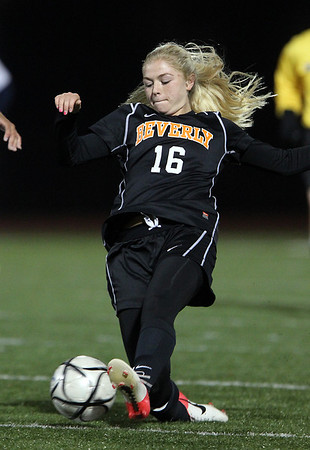 Beverly sophomore forward Eva Goudreau makes a sliding cross into the box against Franklin in the D1 State Semi-Final match on Wednesday evening at Manning Field in Lynn. Goudreau played well for the Panthers but they fell 2-0. David Le/Staff Photo