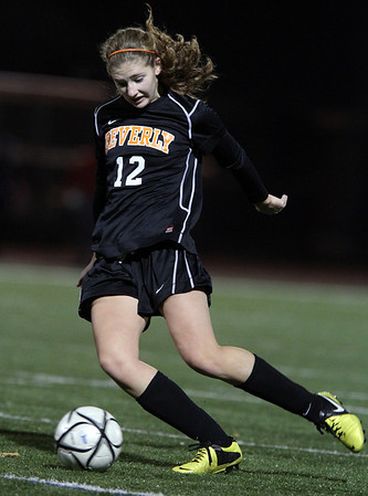 Beverly senior midfielder Meggie Manzo riips a shot on net against Franklin in the D1 State Semi-FInal on Wednesday evening. David Le/Staff Photo