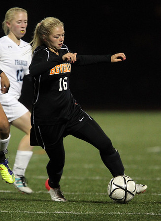 Beverly sophomore Eva Goudreau turns upfield against Franklin on Wednesday night. David Le/Staff Photo