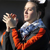 Beverly High School junior Alex Dodge cheers on the Panthers during their game against Marblehead on Saturday afternoon. David Le/Staff Photo