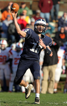 Swampscott senior quarterback Brian Santry fires a pass against Beverly on Saturday afternoon. David Le/Staff Photo