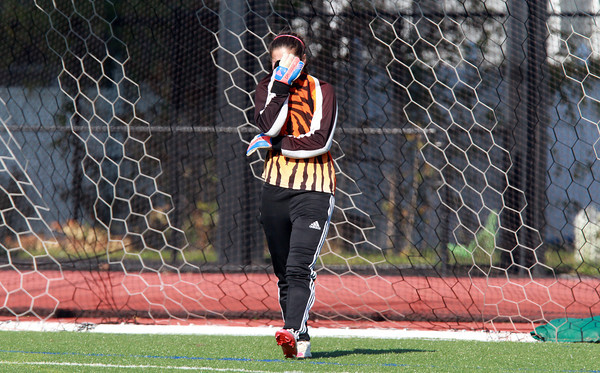 Ipswich senior goalie Molly Markos buries her face in her hands after the Tigers fell 2-0 to Weston in the D3 North Final on Monday morning at Manning Field in Lynn. David Le/Staff Photo