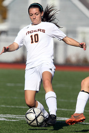 Ipswich senior captain Maddie Howe controls the ball against Weston on Monday morning. David Le/Staff Photo