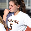 Ipswich junior Maria Balzer wipes away tears following a 2-0 loss to Weston on Monday morning in the D3 North Title game at Manning Field in Lynn. David Le/Staff Photo