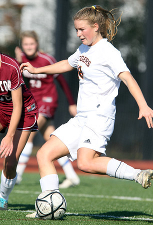 Ipswich junior Katie Monahan controls the ball in midfield against Weston on Monday morning. The Tigers fell 2-0 in the D3 North Final match at Manning Field. David Le/Staff Photo