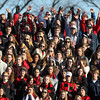 Marblehead fans packed the stands at Blocksidge Field in Swampscott to cheer on the Magicians against the Big Blue in the annual Thanksgiving game on Thursday morning. David Le/Staff Photo