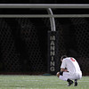 Masconomet senior captain Chip Sherman kneels on the field at the Manning Bowl after the Chieftans lost to St. John's Prep 2-1 in the D1 North Semi-Final on Friday afternoon. The Eagles advance to the D1 North Final on Sunday afternoon against Sommerville at Manning Field. David Le/Staff Photo