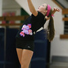 "Salem High School junior Libero Hannah Mularkey sports a black ""Dig Pink"" jersey during her match against Beverly on Friday afternoon. The Salem High School volleyball team wore pink jersey's in support of Breast Cancer Awareness month. David Le/Staff Photo"