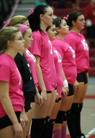 """The Salem High School volleyball team sported pink jerseys with the logo """"Dig Pink"""" for their match against Beverly on Friday afternoon in support of breast cancer. David Le/Staff Photo"""