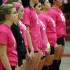 "The Salem High School volleyball team sported pink jerseys with the logo ""Dig Pink"" for their match against Beverly on Friday afternoon in support of breast cancer. David Le/Staff Photo"