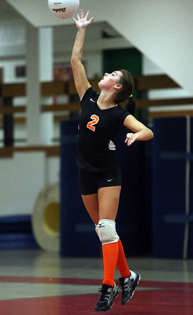 Beverly senior captain Karlie Marrs serves against Salem on Friday afternoon. David Le/Staff Photo