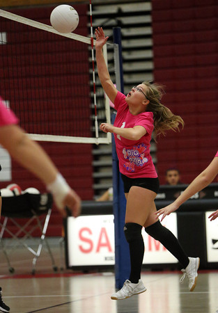 Salem High School junior Shawna Szczechowicz hits the ball over the net against Beverly on Friday afternoon. David Le/Staff Photo