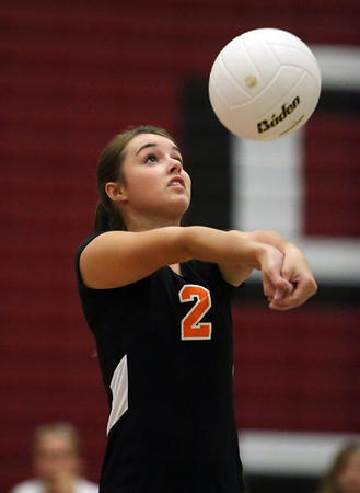 Beverly senior captain Karlie Marrs sets the ball for a teammate against Salem on Friday afternoon. The Panthers defeated the Witches 3-2. David Le/Staff Photo