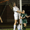 Ipswich junior Maria Balzer wins a header in front of the Tigers net against Manchester-Essex on Tuesday evening. David Le/Staff Photo