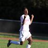 Salem High School sophomore Abdi Mwanambaji controls a head ball against Marblehead on Friday afternoon. David Le/Staff Photo