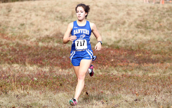 Danvers sophomore Catalina Dominick ran well for the Falcons and placed 5th overall during the NEC Cross Country Championship at Bradley Palmer State Park in Hamilton on Saturday afternoon. David Le/Staff Photo