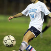 Peabody senior captain Kara Digiacomo boots the ball upfield against Beverly on Friday evening. Digiacomo and the Tanners defeated the Panthers 6-0.  David Le/Staff Photo