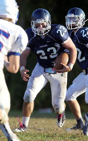Pingree senior running back Nick Antenucci looks for running room against Holderness on Saturday afternoon. David Le/Staff Photo
