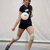 Swampscott junior Taylor Irwin serves against Saugus on Friday afternoon. David Le/Staff Photo