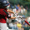 Williamsport: Peabody West Michael Petrosino connects with the ball for a hit, in their final game against the  Great Lakes, at the Little League World Series. Photo by Mark Lorenz/Salem News