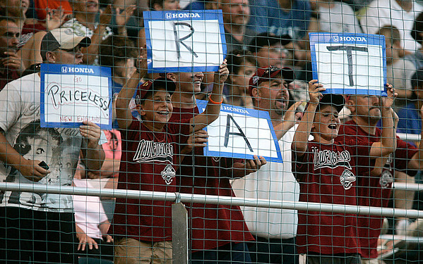 "Williamsport: Peabody West fans cheer on the Matt ""The Rat"" Correale, during game 2 against Chula Vista, California. Peabody fell 14-0. Photo by Mark Lorenz/Salem News"