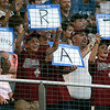 """Williamsport: Peabody West fans cheer on the Matt """"The Rat"""" Correale, during game 2 against Chula Vista, California. Peabody fell 14-0. Photo by Mark Lorenz/Salem News"""
