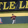 Williamsport: Peabody West center fielder, Matt Correale, throws the ball to second baseman, agaisnt Southwest at the 2009 Little League World Series. Peabody fell 10-1. Photo by Mark Lorenz/Salem News