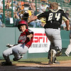 Williamsport: Great Lakes cather, Ian Woodall cannot make the tag in time against Peabody West Matt Correale. The score gave Peabody a 9-1 lead in the top of the fourth inning. Peabody won their final game 12-3, at the Little League World Series. Photo by Mark Lorenz/Salem News