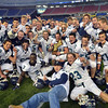 Foxborough: Pingree School celebrates their win over Rivers in the Norm Walker Bowl at Gillette Stadium. photo by Mark Teiwes / Salem News