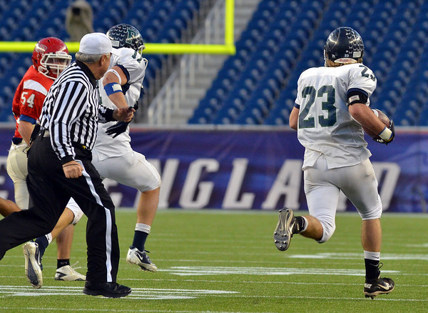 Foxborough: Pingree defense blocked a field goal, and Nick Antenucci, right, grabbed the ball to sprint for the game winning 84 yards touchdown with 11 seconds left during Pingree's 36-28 victory in the Norm Walker Bowl at Gillette Stadium.. photo by Mark Teiwes / Salem News
