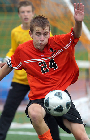 Beverly captain Dylan Perry concentrates on controlling the ball against Bishop Fenwick on Tuesday. David Le/Staff Photo