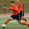 Beverly defender Bryon Gerard carries the ball upfield against Bishop Fenwick on Tuesday afternoon. David Le/Staff Photo