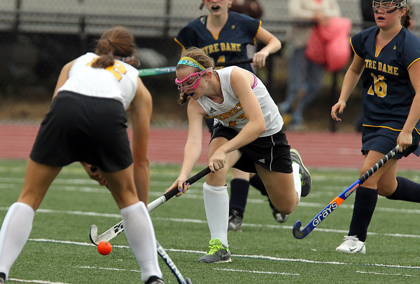 Bishop Fenwick's Caitlyn Pollard passes upfield to a teammate Andrea Klos against Notre Dame Academy on Wednesday afternoon. David Le/Staff Photo