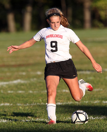Marblehead sophomore Mia Bongiorno takes a free kick late in the game against Danvers on Thursday afternoon. David Le/Staff Photo