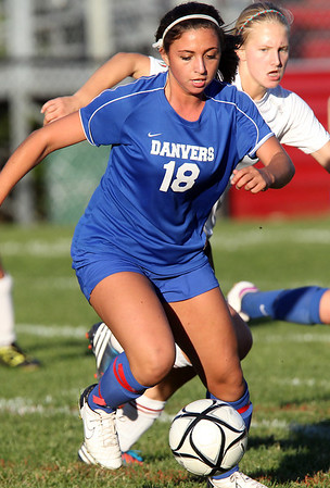 Danvers junior Courtney Arnoldy controls the ball in the second half of play against Marblehead on Thursday afternoon. David Le/Staff Photo