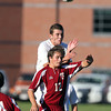 Masco senior captain Chip Sherman wins a header over Newburyport's Henry Jacqz on Tuesday afternoon. David Le/Staff Photo